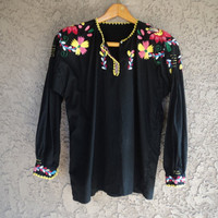 "Vintage 70s Embroidered Cotton Tunic Blouse INDIA / Large / 40"" B"