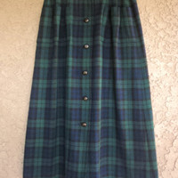 Vintage 70s Pendleton Button Down Skirt Tartan Plaid Midi 100% Virgin Wool 27 w