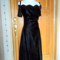Vintage Dress 80s Velvet Iridescent Sweetheart Tea Length Full Skirt Tulle PROM 38""
