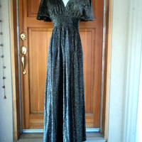 Vintage 70s LUREX Sparkle Empire Metallic Silver Black Maxi Dress