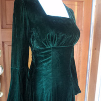 "Vintage 70s Emerald Green Velvet Empire Flared Bell Sleeve Mini Dress 32"" B"