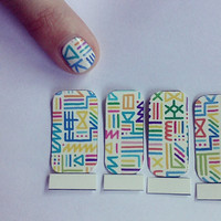 Multicolored Tribal Print Nail Decals