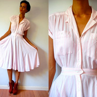 Vtg Pin Striped Pink & White Button Up SS Shirt Dress
