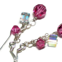 Earrings, Pink Swarovski Crystal and Sterling Silver
