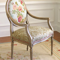 Caroline Mist Cottage Oval Back Chair in Champagne
