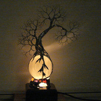 Full Moon Rising Wire Tree Of Life Grove Spirits sculpture on natural Silky White Selenite Sphere Gemstones Lamp, original art  LP11