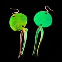 SALE PANIKA holographic jellyfish earrings / laser cut earrings / statement earrings