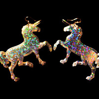 Magic unicorn earrings / unicorn earrings / statement earrings / laser cut earrings / holographic