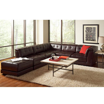 Stacey Leather 6 Piece Modular Sectional From Macys Home