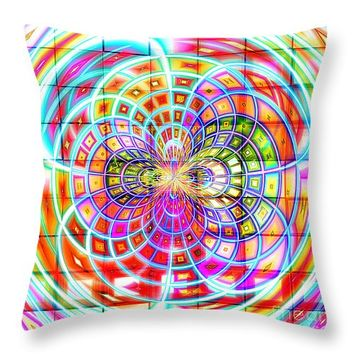 """Rainbow Interlace 14"""" x 14"""" Throw Pillow for Sale by Shawna Rowe"""