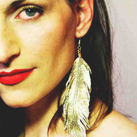 Gilded Bird - Gold Lambskin Leather Feather Earrings