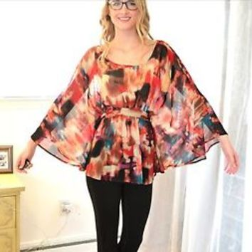 Colorful boho flowy top Charlotte Russe small s butterfly sleeve blouse bohemian