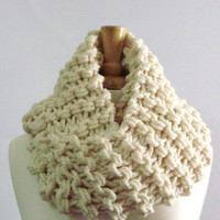 Cream White Extra Long Chunky Knit Infinity Cowl Scarf