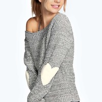 Sara Slash Neck Heart Elbow Patch Jumper