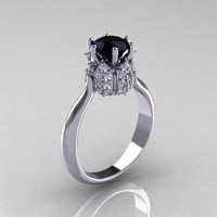 14K White Gold 1.0 Carat Black and White Diamond Tulip Solitaire Engagement Ring NN119-14KWGDBD