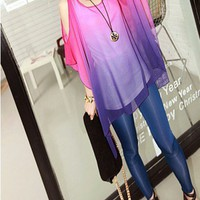 Gradient Print Chiffon Cape with Cut Out Sleeves