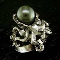 Octopus Ring with black pearl by Steven Douglas
