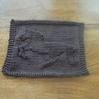Hand Knit Dark Taupe Bucking Bronco Picture Dishcloth or Washcloth