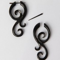 Coco Loco Wooden Nilanu Curl Large Horn Earrings - Black - Punk.com
