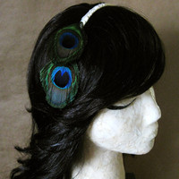 Esme Headband - Two Bright Green and Blue Peacock Eye Feathers on Ivory Ribbon Wraped Band - Nature Fantasy Bridal Gift