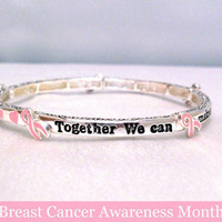 Breast Cancer Awareness Bracelet with Pink Ribbons and Hearts