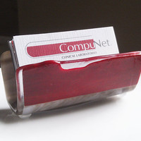 Business Card Holder Earthy Brown and Red - Fused Glass