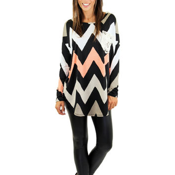 Taupe Chevron Top With Crochet Pocket