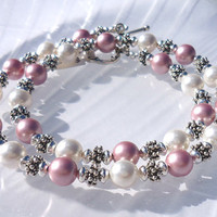Crystal Pearl Jewelry Set, Pink Pearlized Swarovski Crystal Bracelet and Necklace, Beaded Jewelry Set