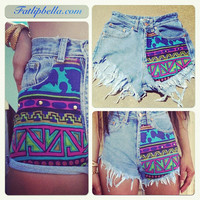 Colorful Tribal Aztec print shorts vintage high waist or low rise hip huggers. Also Giveaway