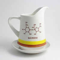 Maple Syrup Pitcher - Sucrose Chemistry Molecule in Cocoa, Yellow and White