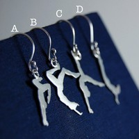 TWO Asymmetric Trapeze Artists Sterling Silver Earrings  - Made To Order -