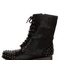 Madden Girl Gewelz Black Studded Lace-Up Combat Boots