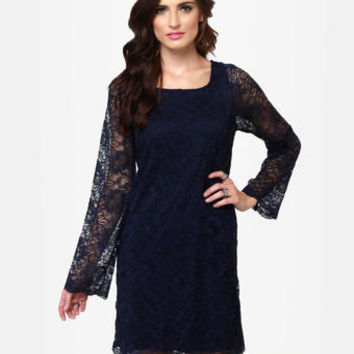 Pretty Lace Dress - Navy Blue Dress - Long Sleeve Dress