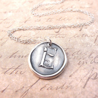 Initial wax seal pendant monogram necklace letter E hand stamped from recycled silver, ready to ship