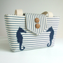 Seahorse Wayfarer Purse - Handmade Appliques and Classic Ticking Stripe - Summer Bag - Nautical