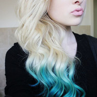 AQUATIC MIX Blue and Turquoise Hair Extensions // (2) Pieces // Clip In