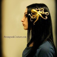 Stolen Pearls gold Octopus hair clip Steampunk by SteampunkCouture