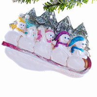 Sledding Family of 5 ornament - personalized Christmas ornament - personalized family ornament