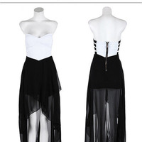 Sexy Black & White Maxi Dress from CherryKreations21