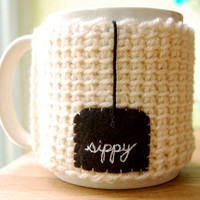 Sippy Tea Mug Cozy White Crocheted Cup Cosy by KnitStorm on Etsy