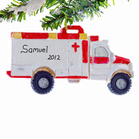 Personalized Christmas Ornament Ambulance - Rescue Squad Truck Ornament - EMT Christmas Ornament
