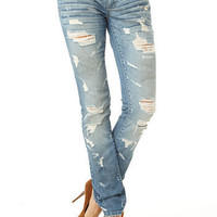S&P by Standards & Practices Dusty Destructed Stretch Skinny Jean