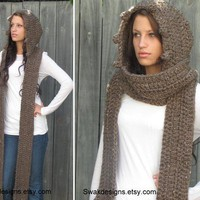 The MESSENGER Hooded Scarf  Wood Brown or  CHOOSE by swakdesigns