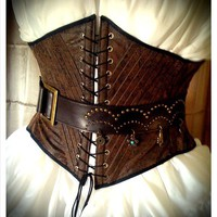 Pirate Wench Faux Tooled Leather Underbust Corset