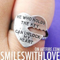 Love Quote Key Ring Silver - He Who Holds The Key Can Unlock My Heart from Dotoly Love
