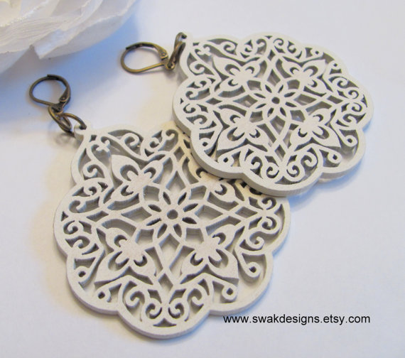 Large White Wood Filigree Earrings  Bohemian style  by swakdesigns