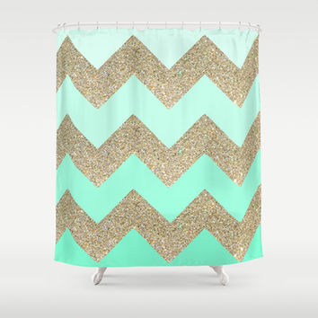 mint glitter Shower Curtain by Austeja Saffron