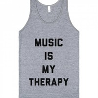 Music Is My Therapy-Unisex Athletic Grey Tank