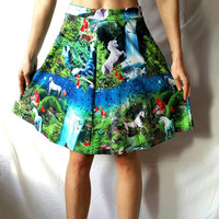 UNICORN SKIRT and CROP Top Set of 2 Skirt and Crop Top Unicorn Dress Skirt and Cropped Top Pattern Unicorns Foxes Mother Nature Fairy Set