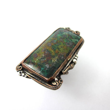 Unique Turquoise and Copper Ring, Men's Copper Ring, Men's Turquoise Jewelry